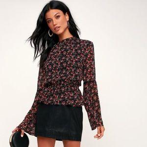 Lulus Black Floral Print Bell Sleeve Top